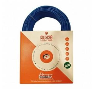 Polycab Blue FR PVC Insulated Unsheathed Industrial Cable, 0.75 Sq mm, Length: 90 m