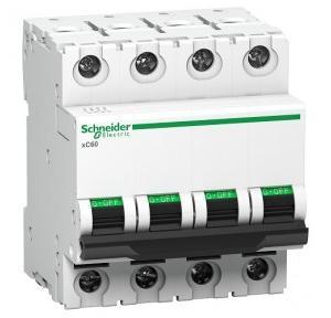 Schneider XC60 63A 4P B-Curve AC MCB, A9N4P63B