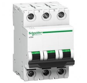 Schneider XC60 63A 3P C-Curve AC MCB, A9N3P63C