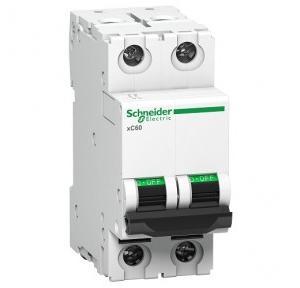 Schneider XC60 63A 2P C-Curve AC MCB, A9N2P63C