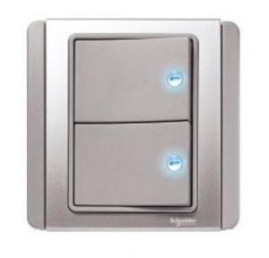 Schneider Neo 10AX 2 Gang 1 Way Switch Grey With Blue LED Indicator, E3032V1EBGS