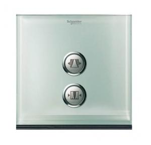 Schneider 2 Gang Switch Coverplate Crystal Glass, UC22SWXGL