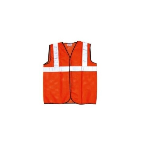 Prima S Size 70 GSM Cloth Type Orange Safety Jacket With 2 Inch Reflector, PSJ-02