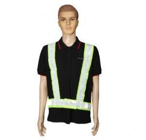 Safari Reflective Safety Jacket 2 Inch, Green, Cross Belt, 60 GSM