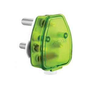 Anchor 6A 3 Pin White Base Plus Green Plug Top, 38626G