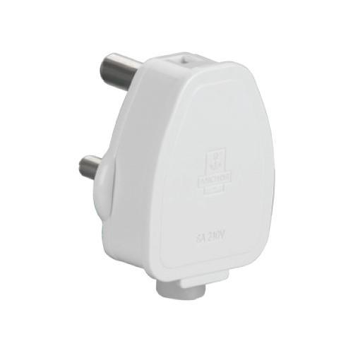 Anchor 6A 3 Pin White Plug Top, 38626