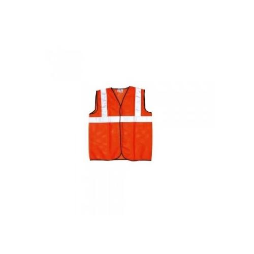 Prima M Size 70 GSM Cloth Type Orange Safety Jacket With 2 Inch Reflector, PSJ-02