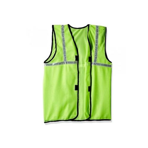 Prima M Size 70 GSM Cloth Type Green Safety Jacket With 2 Inch Reflector, PSJ-02