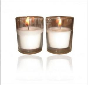 Pure Source Unscented White Glass Votive Candle, PSI-CDL-GV