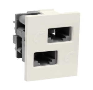 Legrand Britzy 1M Double RJ 11 Telephone Socket, 6734 44