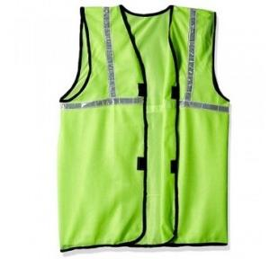 Prima M Size Cloth Type Green Safety Jacket With 2 Inch Reflector, PSJ-02 With Fabric Sticker at Front & Back