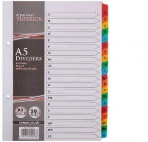 SPS A to Z Index File Separators (Pack of 20 Sheets)