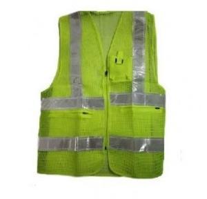 Safari Green 2 Inch Reflective Traffic Jacket, Mesh Type