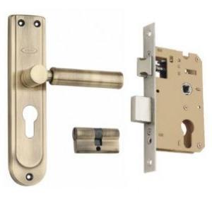 Godrej 240mm Door Handle Set With Lock Body 2C Antique Brass, 7350