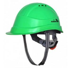 Karam PN542 Ventilated Ratchet Type Green Safety Helmet With Plastic Sticker at Front and Back