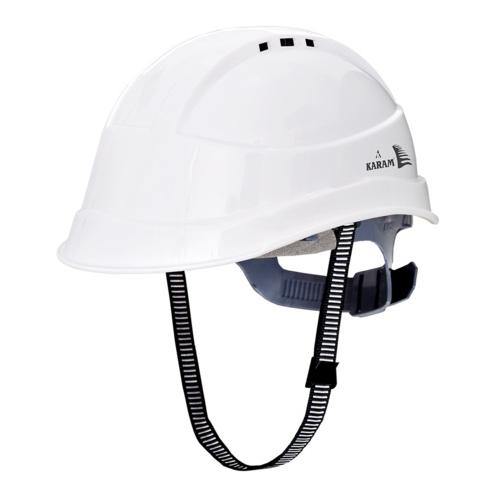 Karam PN542 Ventilated Ratchet Type White Safety Helmet With Plastic Sticker at Front and Back
