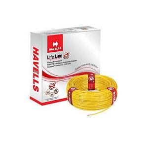 Havells 1.5 Sq mm Single Core Life Line S3 FR PVC Insulated Industrial Cable, Yellow (90 Mtr)