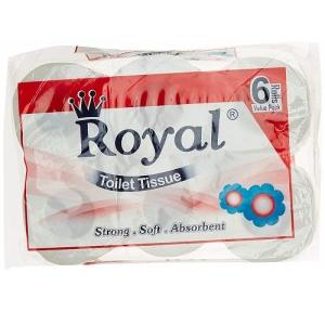 Royal Toilet Tisue Roll 6 In 1, 200 Pulls/Roll