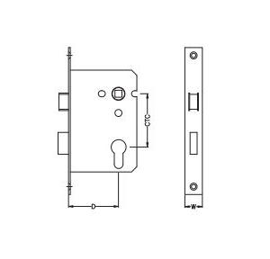 Dorma Satin Stainless Steel Sash Lock 20x57 mm, XL-C 3028