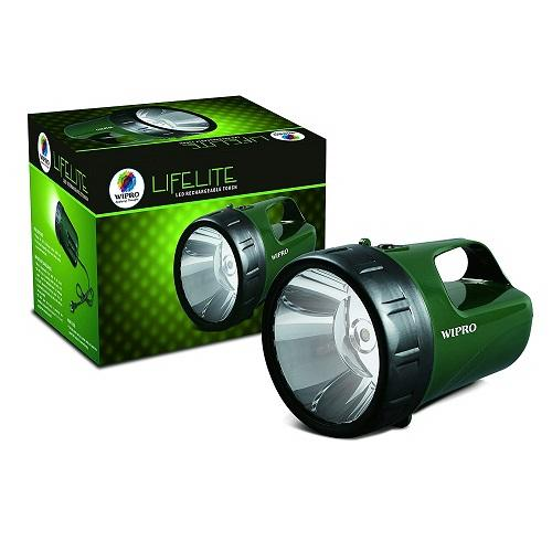 Wipro Lifelite Rechargeable LED Torch 3W (Green), CL0004