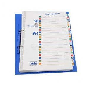 Solo SP520 A to Z Separatorz With Index (Set Of 20), Size: A4