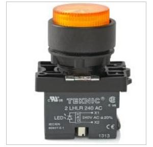 Teknic Yellow Led/White Lens Illuminated Projecting Momentary Integral With LED Bulb, P2ALRP1L