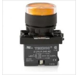 Teknic Yellow LED/White Lens Illuminated Flush Momentary Integral Actuator With LED Bulb, P2ALRF1L