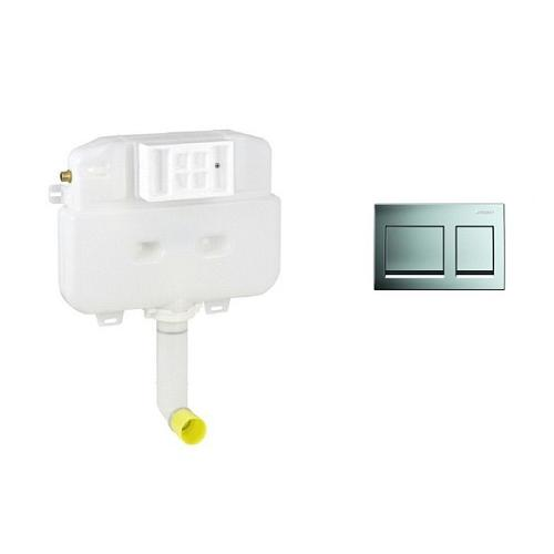 Geberit Alpha Naked Concealed Cistern, 109.010.00.1 With ALPHA 15 Dual Actuator Plate, 115.045.21.1