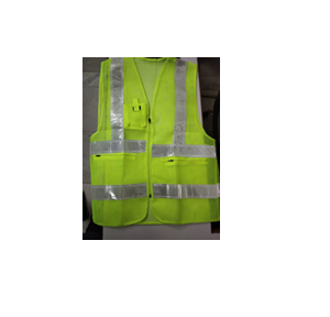 Safety Jacket Cloth Type Green L Size 120 GSM With 2 Inch 3M Reflective Strip With Fabric Sticker at Front & Back