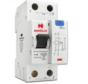 Havells 25A SPN-2M 30 mA A Type RCBO, DHCEACSN2030025