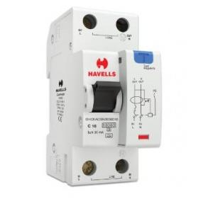 Havells 16A SPN-2M 30 mA A Type RCBO, DHCEACSN2030016