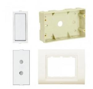 Anchor Roma 10AX 1 Way Switch (21011), 6A 2 Pin Socket (20530), 4M Tresa White Solid Plate (30249CWH) & 4M Surface Plastic Box (21292)