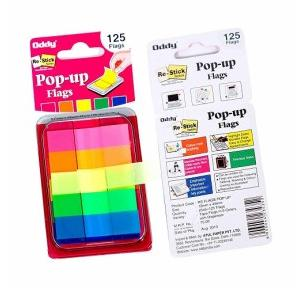 Oddy Re-Stick 5 Colors Pop Up Flags, 12x45mm, 125 Flags