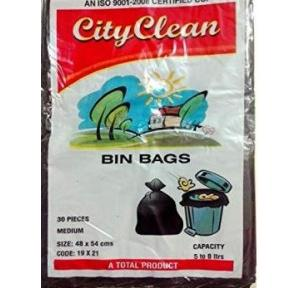 ZIH Plastic Garbage Bag With Easy Tie-Tapes, 25X30 Inch (Pack of 15 Pcs)