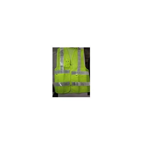 Safety Jacket Cloth Type Green L Size 120 GSM With 2 Inch 3M Reflective Strip With Fabric Sticker at Front Left
