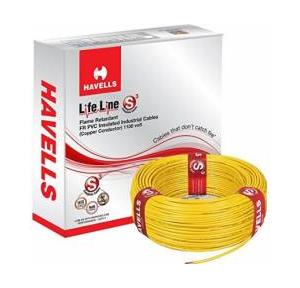 Havells 0.75 Sqmm Single Core Life Line S3 FR PVC Insulated Industrial Cable, Yellow (90 Mtr)
