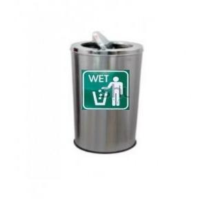 ZIH Swing Dustbin Stainless Steel 202, 14Dx28H Inch With Wet Signage Sticker A4 Size