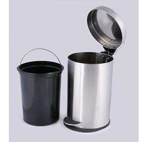 Silverware SS Plain Pedal Dustbin With Plastic Bucket 5 Ltr, 20x20x30cm