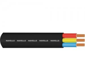 Havells 4 Sqmm 3 Core PVC Insulated & PVC Sheathed Flat Submersible Cable, 1000 mtr