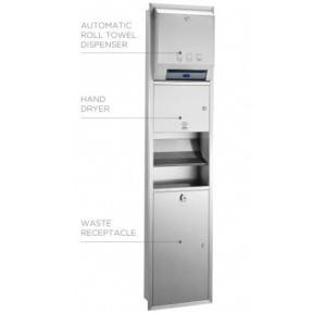 Euronic 3 In 1 Automatic Paper Dispenser+High Speed Hand Dryer+Waste Receptacle, Kinox-Kmr3A