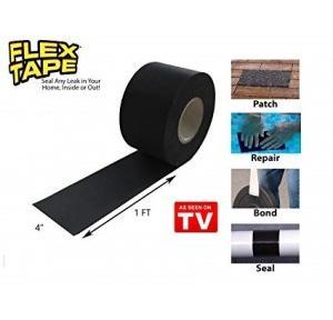 Strong Rubberized Waterproof Flex Tape Black 4Inch x 5ft