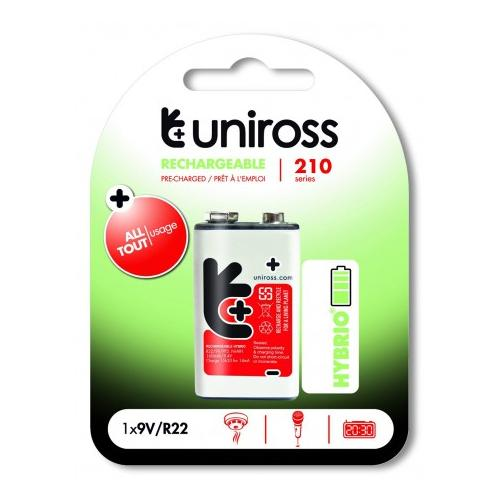 Uniross Rechargeable Battery 9V/R22 Hybrio PP3 Ni-Mh 210mAh