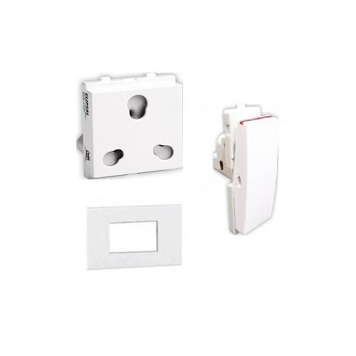 Schneider Opale 3M Grid & 3M Cover Plate (X0733WH), 16A 1 Way Switch (X1101WH) & 6A/16A 3-Pin Socket Outlet with Shutter (X2106WH)