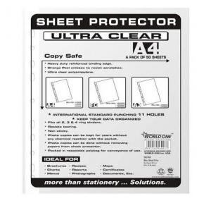 Worldone LF005 Thick Sheet Protector (Universal Punch-100+100), Size: A4