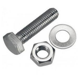 GI Nut Bolt With Washer, 8mm x 2Inch