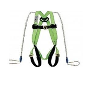 Safety Industrial Fall Protection Climbing, Rocking, Fire Rescue Full Body Simple Hook Double Rope Safety Harness (Green)