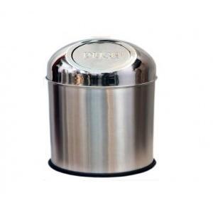 Push Can SS Dustbin 10x18 Inch, 23 Ltr