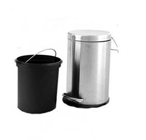SS Pedal Plain With Plastic Type Cover Dustbin, 20 Ltr