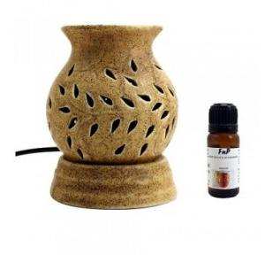 FnP Ethnic Electric Aroma Diffuser Round Shape Burner With Bulb (Beige)