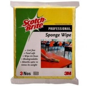 3M Scotch Brite Professional Cellulose Sponge Wipes, 10x10 cm (Pack of 3)
